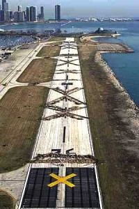 Meigs Field. The X marks were created by bulldozers to stop flights.
